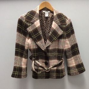 CAbi brown and pink plaid wool blend blazer 8